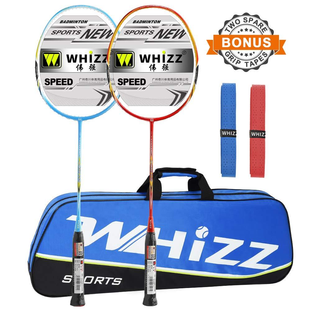 WHIZZ 2 PCS 100% Graphite Badminton Racket Set, Large Badminton Bag / 2 Grip Tapes Included (Red+Blue)