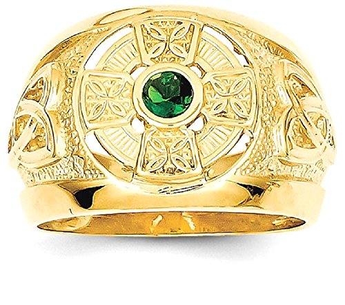 ICE CARATS 14k Yellow Gold Mens Irish Claddagh Celtic Knot Cross Religious Green Synthetic Stone Center Band Ring Size 10.00 Man Fine Jewelry Dad Mens Gift Set