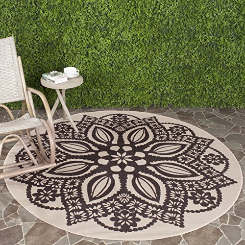 Safavieh Courtyard Collection CY6139-256 Beige and Black Indoor/ Outdoor Round Area Rug (6'7