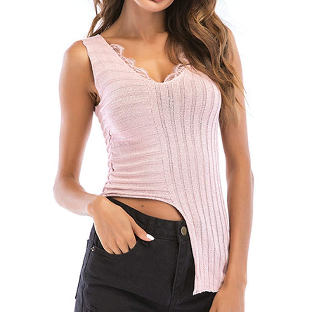 Womens Tank Tops V-Neck Lace Irregular Hem Sleeveless Vest Hook Flower Hollow Shirt (L, Pink)