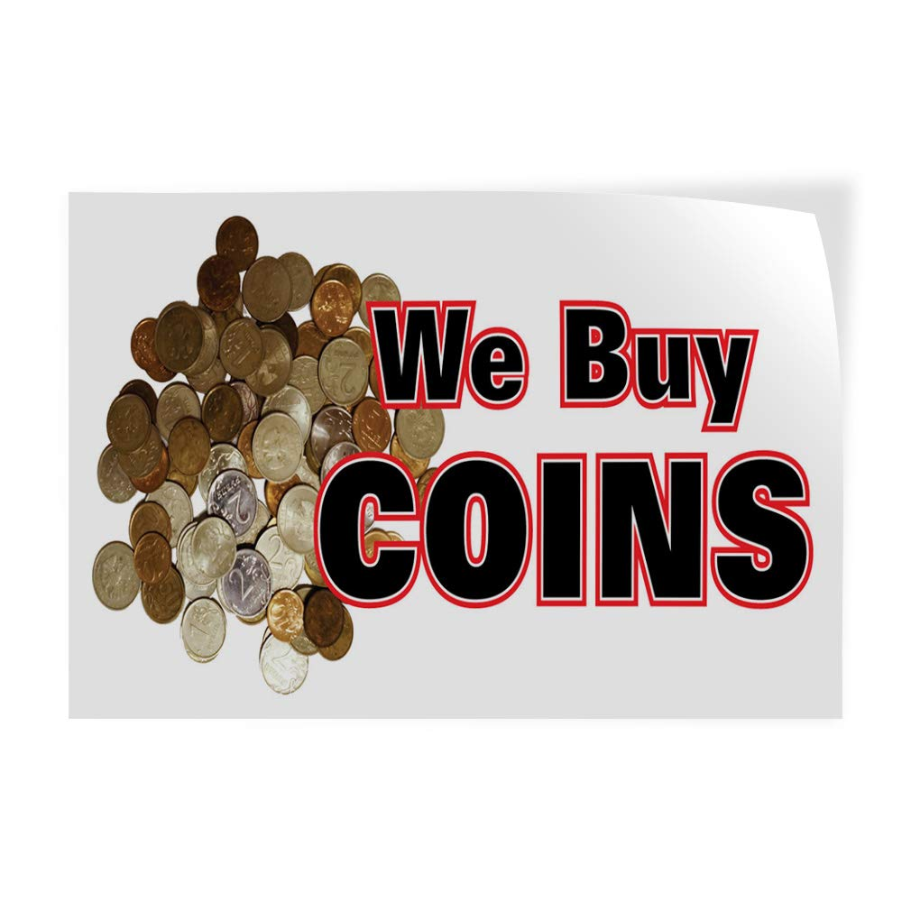 52inx34in Set of 2 Decal Sticker Multiple Sizes We Buy Coins Business Style T Business We Buy Coins Outdoor Store Sign White