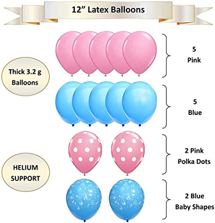 Anbet 26 Pieces Baby Sex Reveal Party Supplies Kit Baby Boy Or Girl Sex Reveal Balloon Decorations Hanging Paper Fans Banner Winding For Baby Shower Hanging Spielzeug