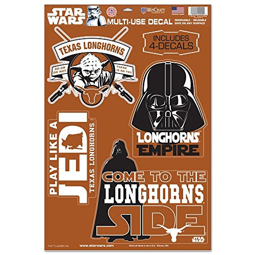 WinCraft Texas Longhorns Official NCAA 11 inch x 17 inch Star Wars Darth Vader Car Window Cling Decal by 156839 by WinCraft