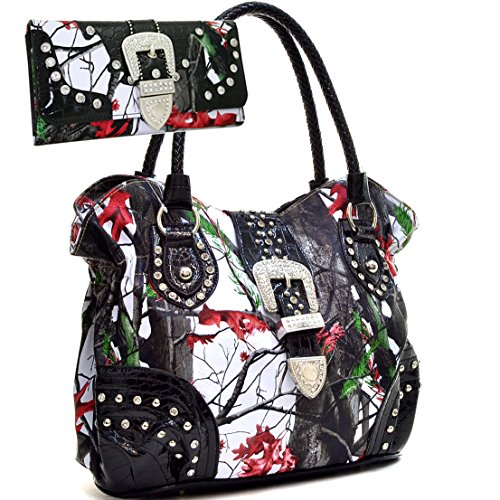 Western Camo Print Rhinestone Buckle Purse Handbag With Matching Wallet - Red/Multi Colors (Red Chic Handbag)