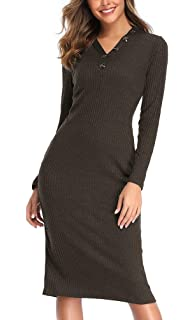 Sunnykud Damen Elegant Strick Kleid Rundhalsausschnitt Business Kleider Bodycon Langarm Wickelkleid Pulloverkleid Cocktailkleid Bleistiftkleid Gesch/äft Minikleid