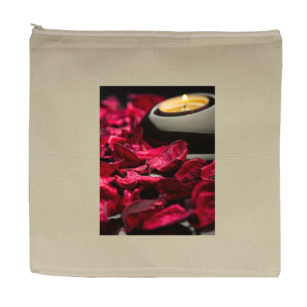 Canvas Zipper Pouch Tote Bag 5.5''X7.5'' Spa Background Petals Stones And Candle by Style in Print (Image #1)