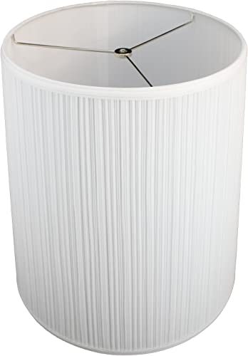 FenchelShades.com Lampshade 13 Top Diameter x 15 Bottom Diameter x 17 Slant Height with Washer Spider Attachment for Lamps with a Harp Pleated White