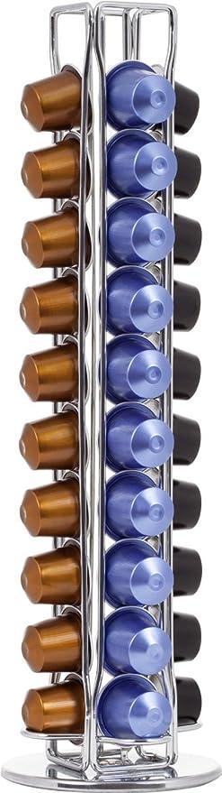 Distribuidor de cápsulas giratorio (hasta 40 cápsulas, acero cromado), Soporte para cápsulas