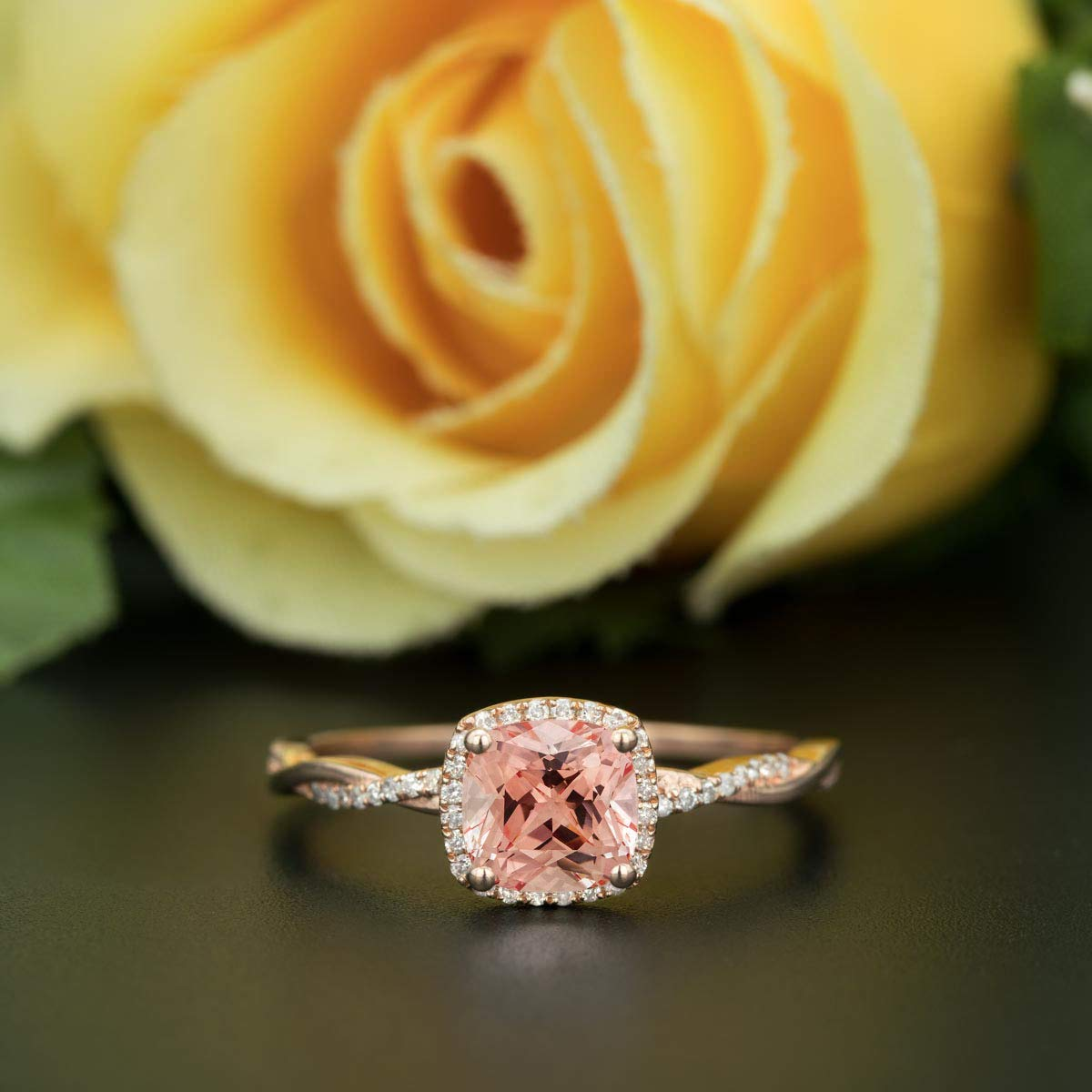 1.50 Carat Cushion Cut Morganite and Diamond Halo Engagement Ring In Rose Gold 61qkiAq7goL._SL1200_
