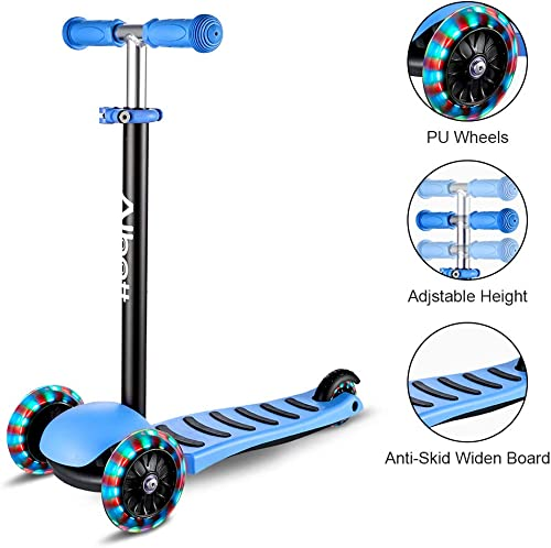 Albott 3 Wheels Kick Scooter for Kids Toddlers Scooter with PU LED Flashing Wheels, Lean to Steer, Adjustable Height for Children Boys Girls from 3 to 10 Year Old