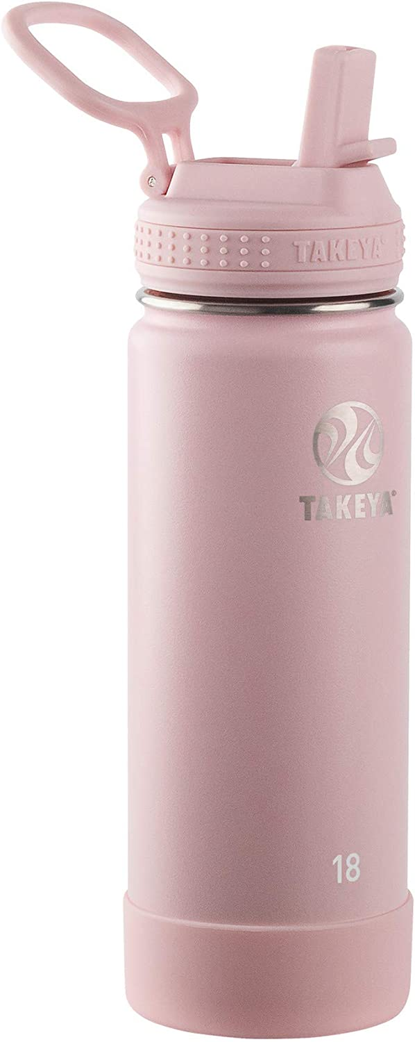 Takeya Actives Insulated Water Bottle w/Straw Lid, 18 Ounces, Blush
