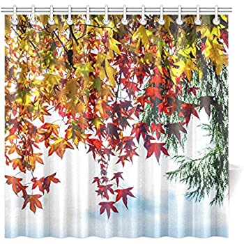 Com Autumn Shower Curtain Burnt Orange Decor By Ambesonne