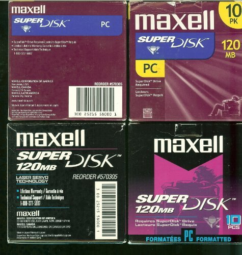 Maxell LS-120 SuperDisk-120MB 3.5IN RETAIL PK 10 pcs (570305) by Maxell