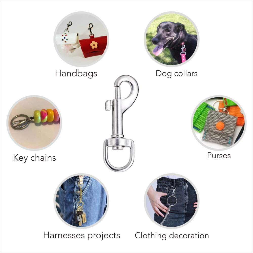Swivel Snap Hooks Lucky Goddness 20pcs Metal Heavy Duty Square Eye Clasp Buckle Trigger Clip Multipurpose- Best for Spring Pet Buckle Handmade Crafts Project Key Chain for Linking Dog Leash Collar