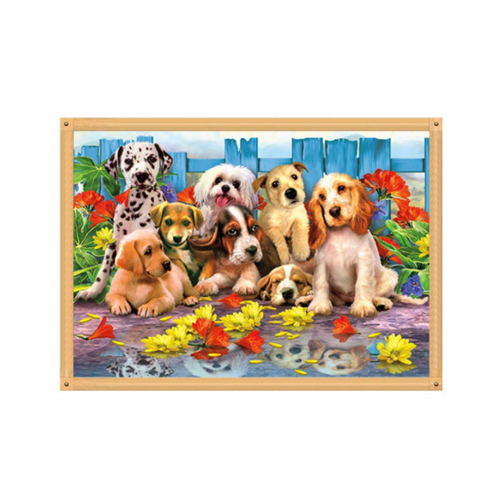 DIY Art 5D Full Drill Diamond Painting Kits Garden and Dog Embroidery Paintings Painting Cross Stitch Arts Crafts for Home Wall Decor 40x30cm/15.7×11.8nches
