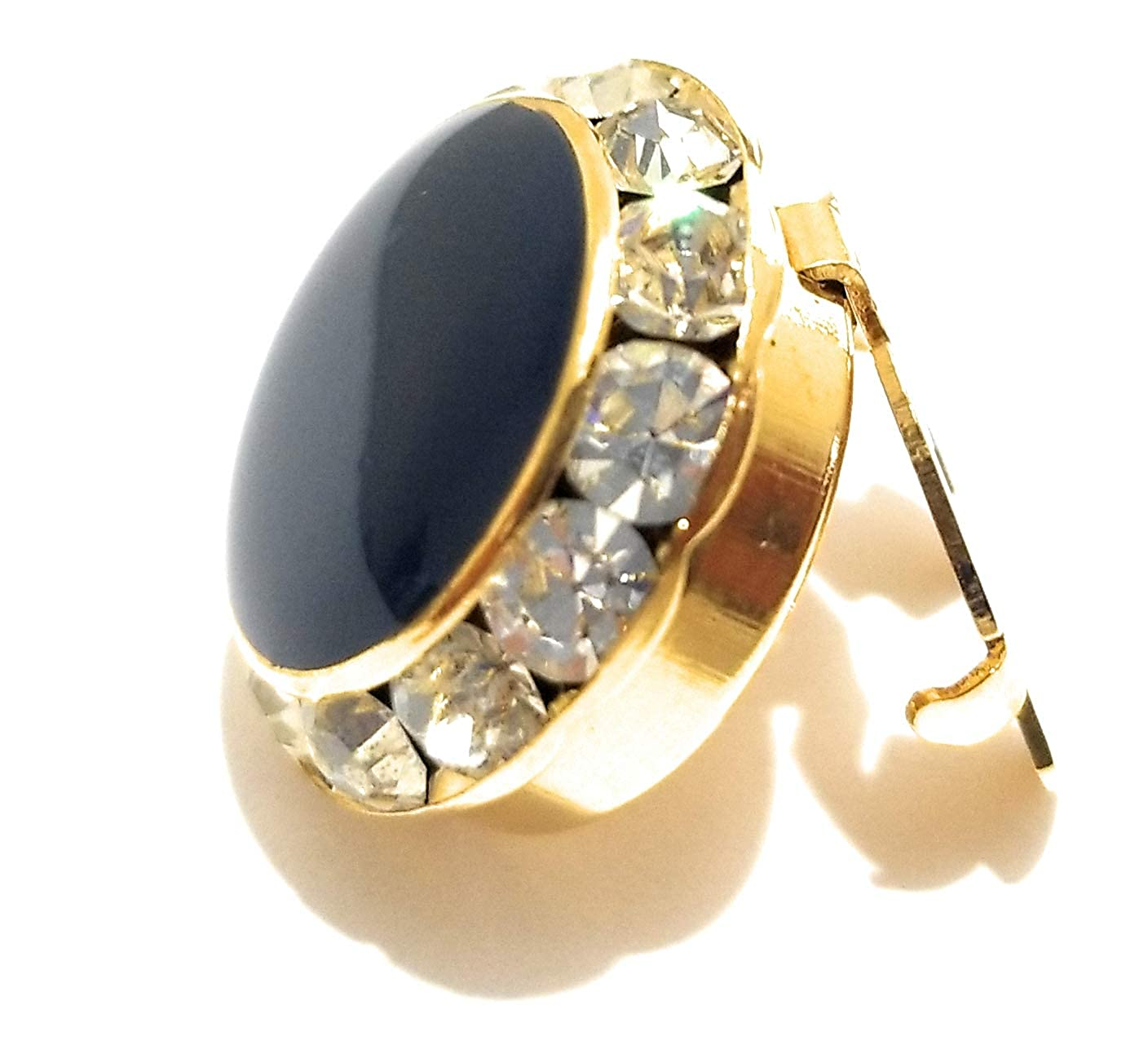 Button Cover Navy Blue Enamel Center Stone round Austrian Crystal Clear-Gold Finish