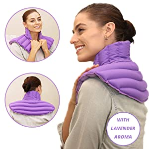 Lavender Heating Pad for Neck and Shoulder | Neck Wrap Microwavable for Relief of Pain, Sore Muscles, Stress, Tension and Headaches | Neck and Shoulder Heating Pad (Purple Plus Lavender)