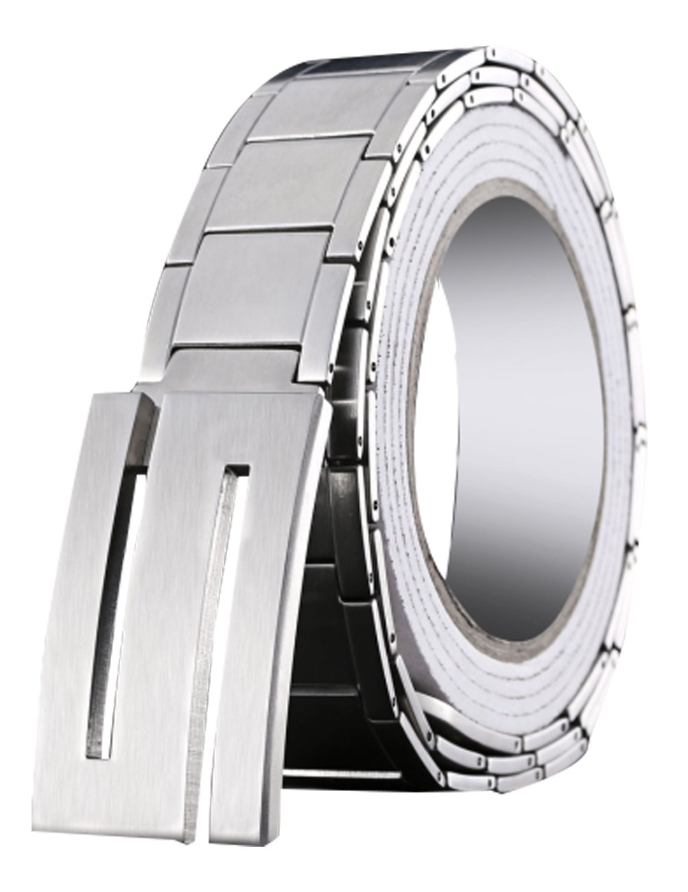 Menschwear Men's Stainless Steel Belt Slide Buckle Adjustable 32mm Silver 130cm by Menschwear