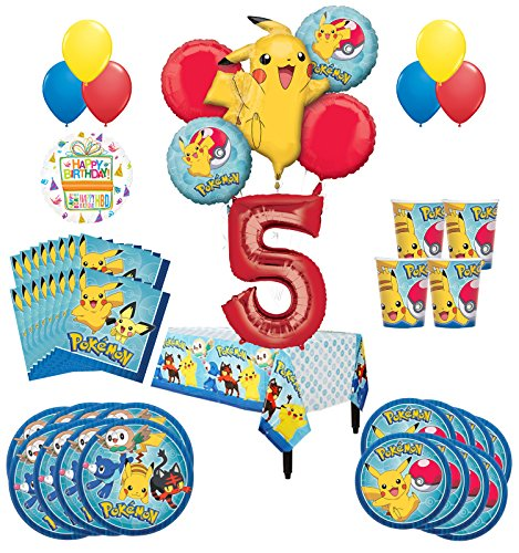 Pokemon 5th Birthday Party Supplies and 8 Guest 54pc Balloon Decoration -