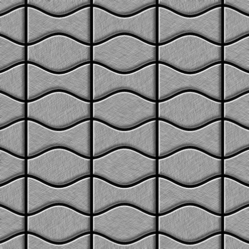 Price comparison product image Mosaic tile massiv metal Stainless Steel marine brushed grey 1,6mm thick ALLOY Kismet & Karma-SS-MB designed by Karim Rashid