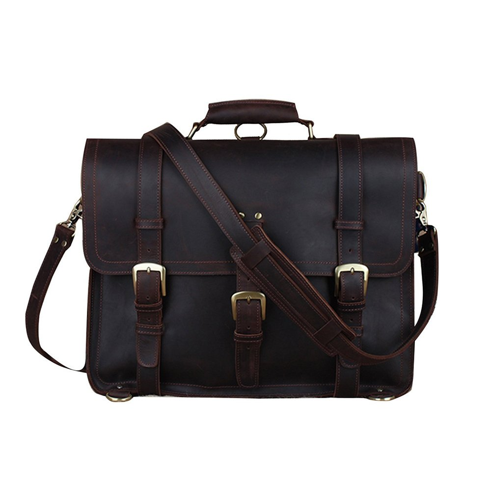 BAIGIO Vintage Leather Luggage Backpack Briefcase Travel Carryon Shoulder Bag (Dark Brown)