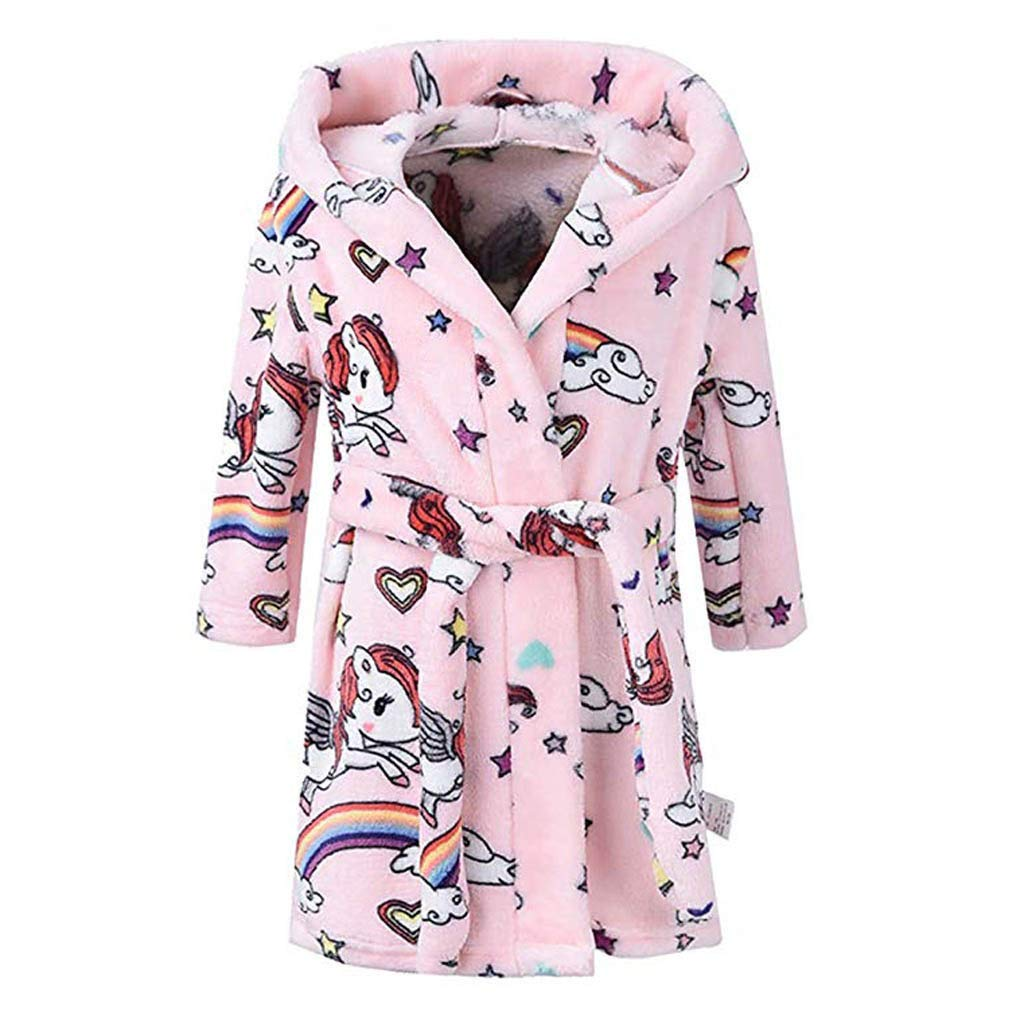 Minshao Baby Bathrobe Boys Girls Unisex Sleepwear Dressing Night Gown Soft Plush Print Flannel Fleece Hooded Bath Robe Children's Cosplay Hoodie Towel Pajamas for 0-8 Years Old