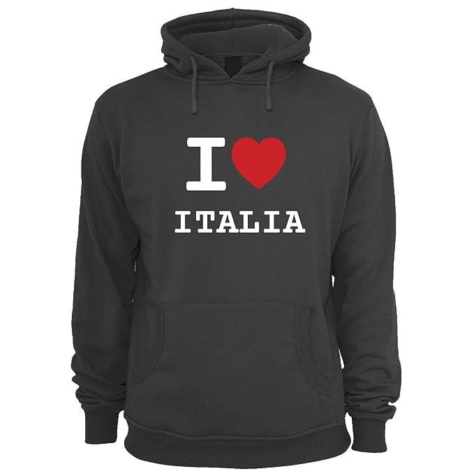 I Love Italia - Sudadera con Capucha Sudadera con Capucha para Hombre - Color: Negro: Amazon.es: Ropa y accesorios