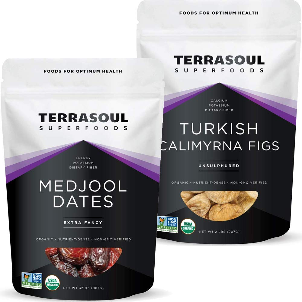 Terrasoul Superfoods Medjool Organic Dates 2 Lbs + Organic Turkish Figs 2 Lbs Bundle