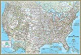 National Geographic's Classic United States of America (USA) Map Wall Mural -- Self-Adhesive Wallpaper in Various Sizes by Magic Murals