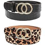 REYOK Cinturón de hebilla redonda de Doble,2 pcs Cinturón de mujer sencillo y de Moda Cinturón de Cuero para Mujer…