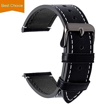 mieux aimé be5bb 85a86 Fullmosa 14mm/16mm/18mm/20mm/22mm/24mm Bracelet Montre en Cuir, 4 Couleurs  Montre Bracelet Femme&Homme,Noir + Boucle Grise Fumée,24mm
