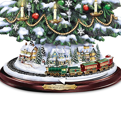 Thomas Kinkade Candlelit Tabletop Tree with Lights and Music and Rotating Train by The Bradford Exchange by Bradford Exchange (Image #3)