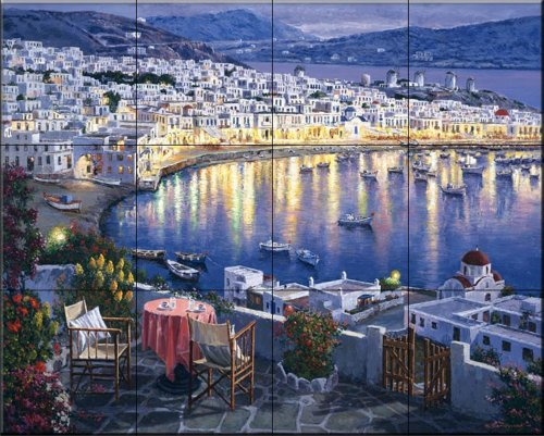 Ceramic Tile Mural - Mykonos Sunset - by Sam Park/Soho Editions - Kitchen backsplash / Bathroom - Store Mykonos