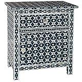 Black Bone Inlay Handmade End Table Made Inlay Designers Furniture