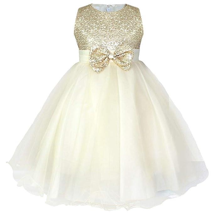 IEFIEL Vestido Fiesta Boda Dama de Honor Cumpleaños Niña Vestido Princesa Traje de Ceremonia Elegante Vestido Largo con Lentejuelas Tutú 2-14 Años: ...