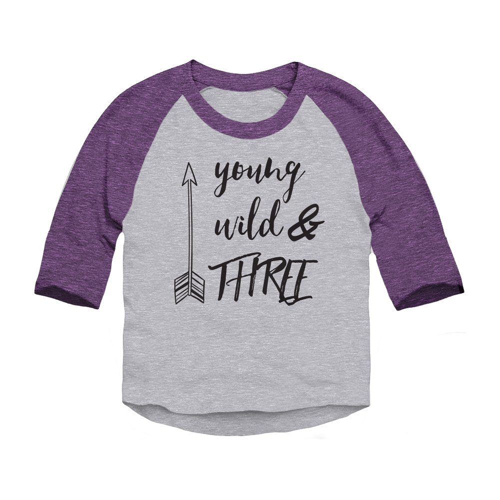 Trunk Candy Young, Wild & Three Toddler 3/4 Sleeve Raglan Baseball T-Shirt 117437