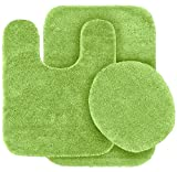Lime Green Bathroom Mat GorgeousHomeLinenDifferent Colors 3-Piece Bathroom Set Bath Mat, Contour, and Lid Cover, with Rubber Backing #6 (Lime Green)