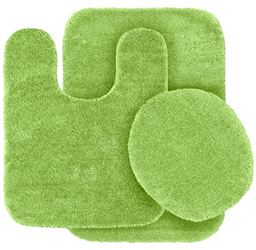 GorgeousHomeLinenDifferent Colors 3-Piece Bathroom Set Bath Mat, Contour, and Lid Cover, with Rubber Backing #6 (Lime Green) (Lime Green Bath Mat Set)