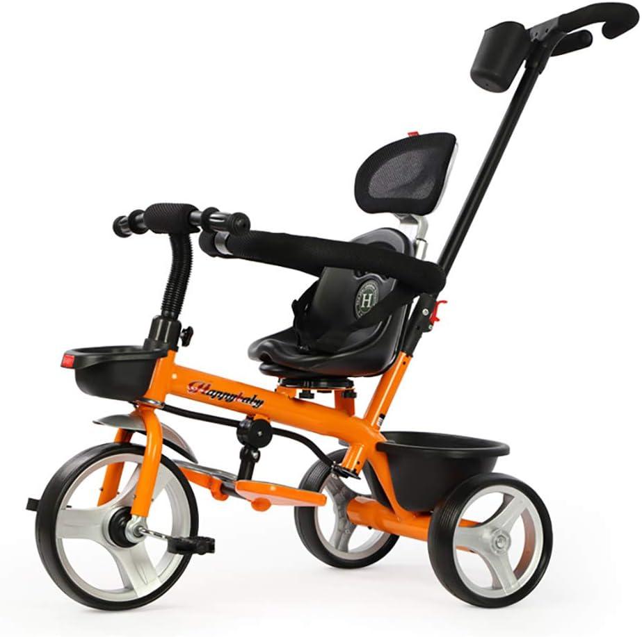 Cpippo Triciclos Niños 2 Años, Triciclo Plegable Puede Soportar 50kg Bicicletas Estaticas Plegable con Asa Ajustable y Frontal Silencioso Amortiguador de Titanio con Rueda Vacía,Orange