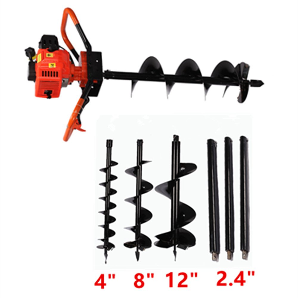 PROMOTOR 2 Stroke Earth Auger Powerhead, 72cc Power Post Hole Digger 3000W One Man Auger (Digger + 4' 8' 12' Bits) 72cc Power Post Hole Digger 3000W One Man Auger (Digger + 4 8 12 Bits)