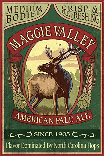 (Maggie Valley, North Carolina - Elk Pale Ale Vintage Sign (36x54 Giclee Gallery Print, Wall Decor Travel Poster))