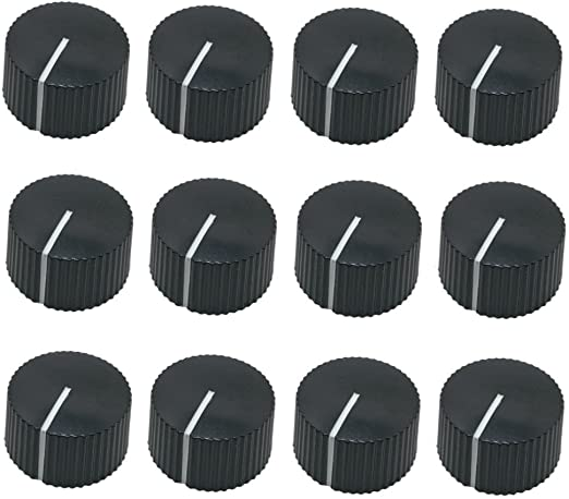 for guitar effect pedal and amps 1//4 shaft 30 pcs Pointer Knob Assortment 10 Black 10 Cream White 10 Red