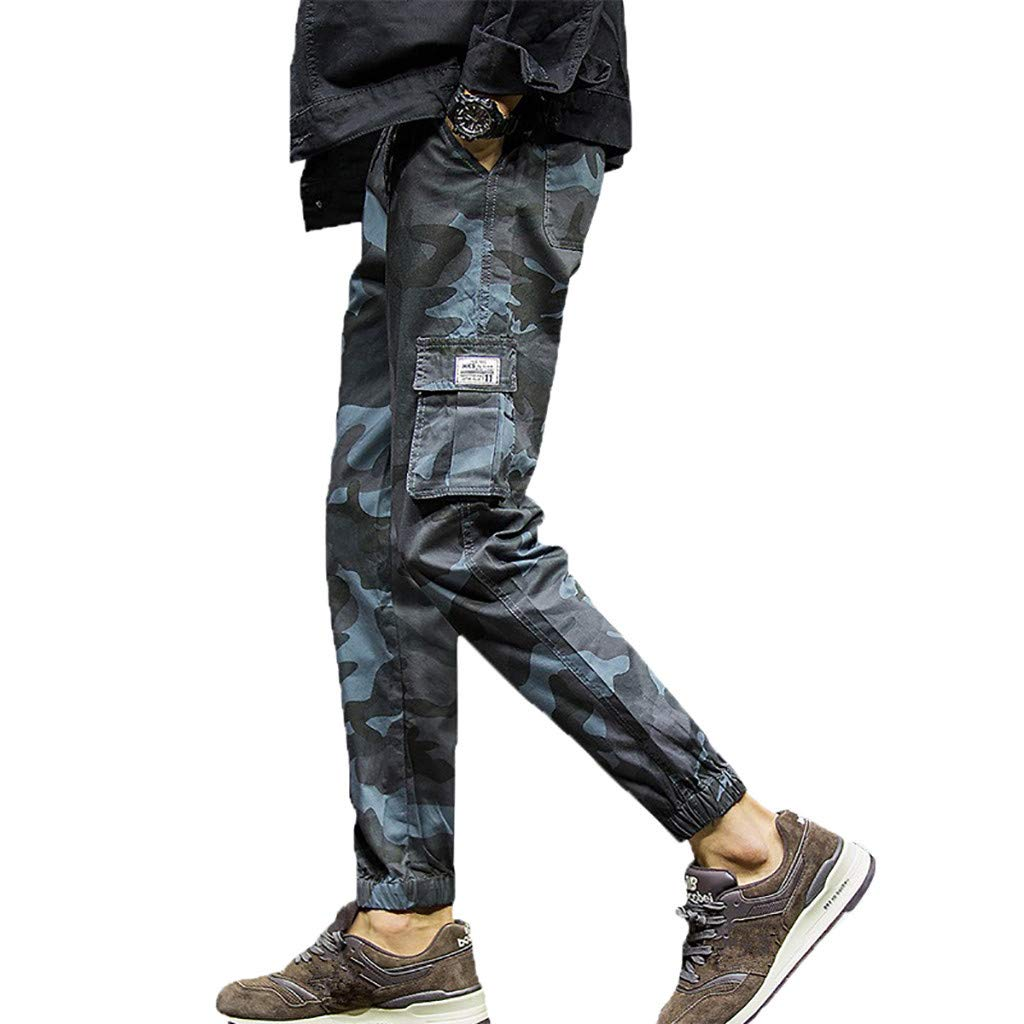 Men's Jogger Pants Camo Cargo Trousers Camouflage Sports Twill Drawstring Casual Chino Sweatpants by Alalaso