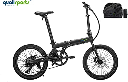 """Qualisports Christmas&New Year Volador 20"""" Folding Electric Bicycle(+Free Carry Bag) Approved UL2849, 36V/7Ah Battery, 350W Hub Motor, 20MPH Max Speed, 25+Miles Range, 7 Speed Shifter(Black【Ship Now】)"""