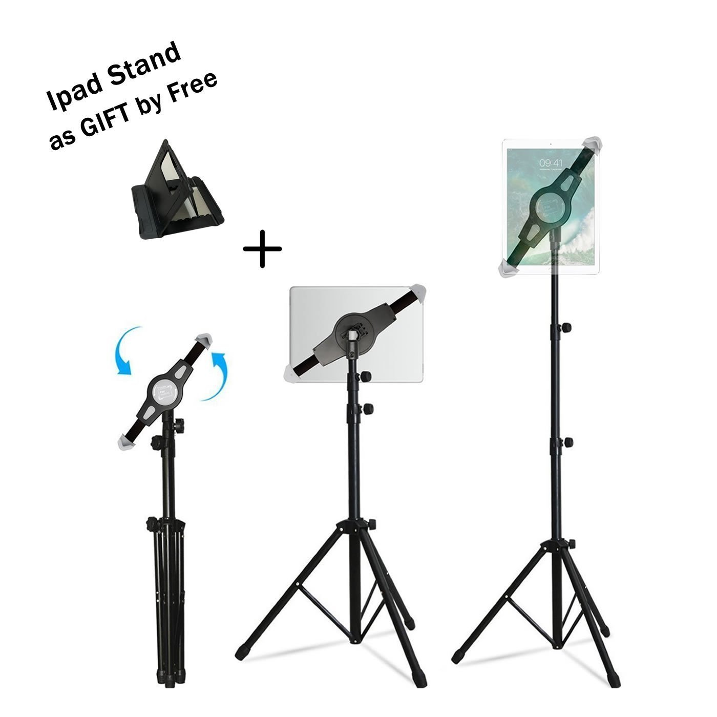 Ipad Tripod Mount Floor Stand, Weiyudang Height Adjustable 20 to 60 Inch Tablet Tripod Stand Mount Ipad,Ipad Mini Others Within 7-12 Inch, Carrying Case Includeed (Upgrade Tripod)
