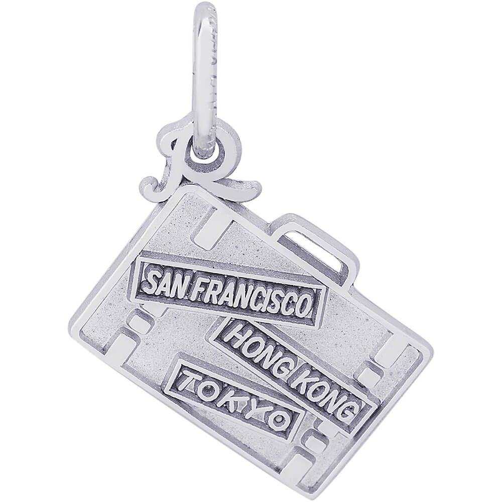 Box or Curb Chain Necklace 18 or 20 inch Rope Rembrandt Charms Sterling Silver San Francisco Hong Kong Tokyo Suitcase Charm on a 16
