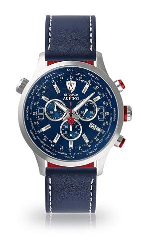 Detomaso aurino Hombre Reloj de Pulsera Cronógrafo analógico de Cuarzo Pulsera de Piel Azul Esfera Azul DP-DT1061 de c de 903: Amazon.es: Relojes