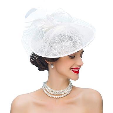 Women Fascinators White Feather Flower Pillbox Hat British Church ... e1bd151cb74