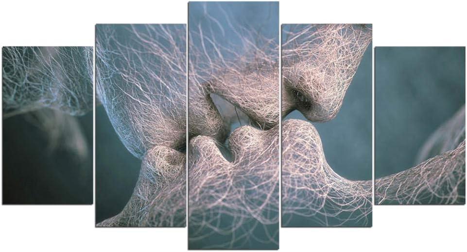 60Tdfc Decoración De Pared HD Impreso Póster 5 Piezas Arte Abstracto Amor Besos Pintura Arte Sala De Estar