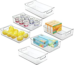 """mDesign Wide Plastic Kitchen Pantry Cabinet, Refrigerator or Freezer Food Storage Organizer Bin Box with Handles - Container for Fruit, Vegetables, Yogurt, Snacks, Pasta, 14"""" Long, 6 Pack - Clear"""